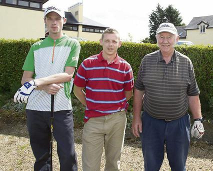 Derek Jenkinson, Paul Ronan and Seamus O'Neill at the Rathnew GAA Golf Classic at Wicklow Golf Club