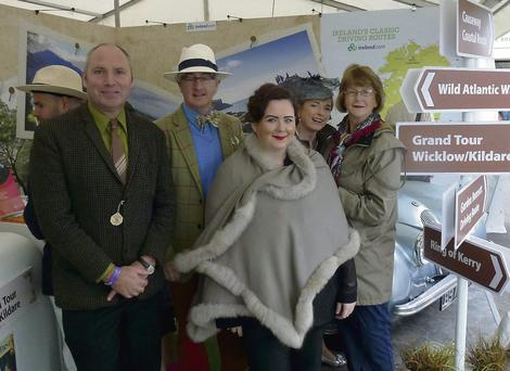 Peter Thompson, Causeway Coastal Route; Joe O'Flynn, Rathsallagh House and representating Ireland's Blue Book; Claire Hickey, The Grand Tour Wicklow/Kildare; Carmel Flynn, Parknasilla Resort; and Margaret Mellor, Tourism Ireland, on the Tourism Ireland stand at The Goodwood Revival. Picture: Tourism Ireland