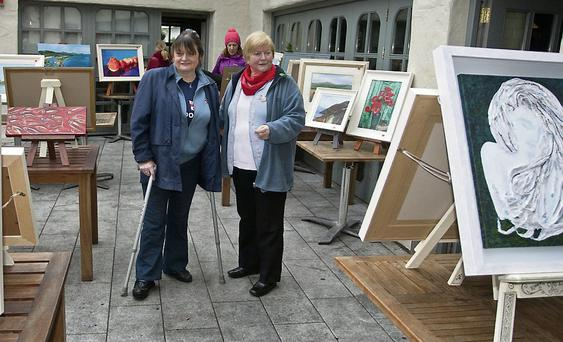 Mary de Courcey and Elizabeth Balbontin at the Art exhibition/auction and fun day in aid of Wicklow RNLI at the bridge tavern