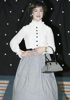 Tia Duffy in action at the Hollywood Fair Vintage Fashion Show.