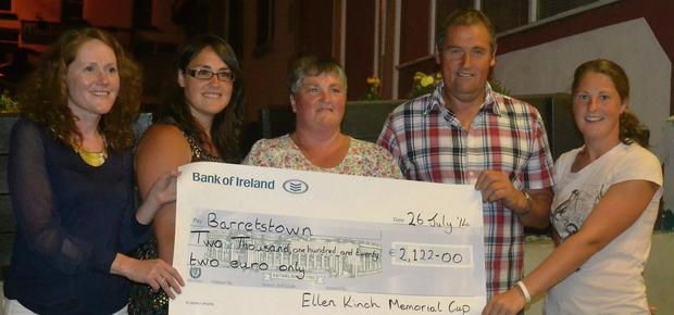 Cliodhna Carty, Michelle, Marcella, Clifford and Jackie Kinch at the Ellen Kinch Memorial presentation night in Murphy's Hotel to Barretstown
