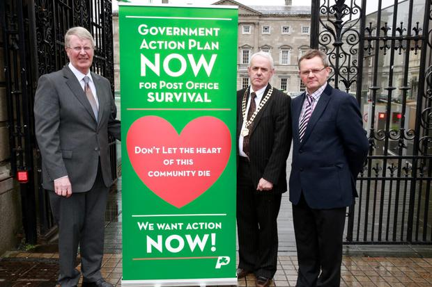 At the launch of Irish Postmasters' Union 'Six Point Plan to protect the Post Office Network and support Local Communities' were General Secretary Ned O'Hara, President Ciaran McEntee and Eastern spokesperson Sean Fogarty