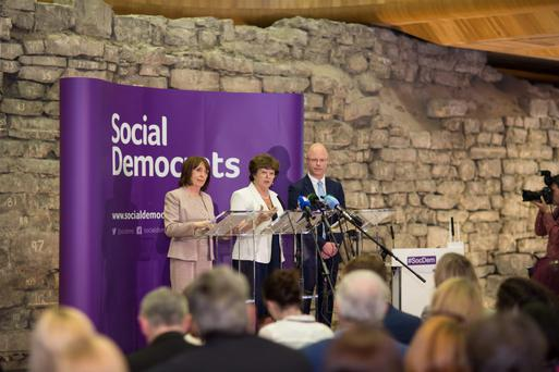 Deputy Roisin Shortall, Deputy Catherine Murphy and Deputy Stephen Donnelly at the launch of the Social Democrats