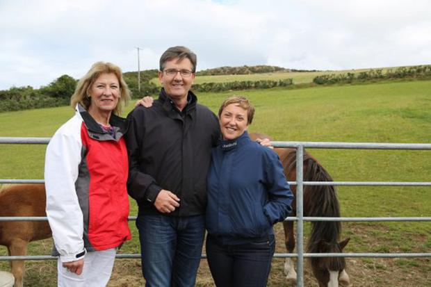 Daniel and Majella O'Donnell with Yvonne Rowe, owner of Coolakay House B&B in Enniskerry