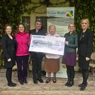 Bríd Murphy, Joe Kelly, Angela Fanning and Valerie O'Toole presenting a cheque to Evanne Cahill and Sinead Tarmey of Wicklow Hospice
