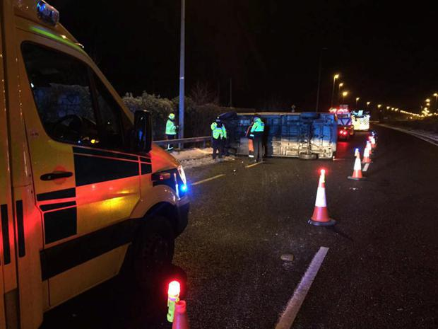 Emergency services respond to an accident at Kilmacanogue on Saturday night