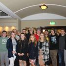 Some Canadian rugby players mix with members of Wicklow Ladies RFC at their recent fashion show