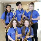 Colaiste Bríde Carnew songwriters and saxophonists who helped create 'Where Tomorrow takes Us' (L-R) Alannah Davis, Toby Barry, Fianna O'Reilly. Front: Orla Montague and Katie Smith
