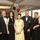 Graham Burleigh, Nicola Valentine, Ann Morrissey, Larry Byrne, Marianne and Bert Nicholson at the Wicklow Rugby Club black tie dinner dance in the Grand hotel, Wickow