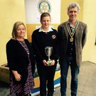 Siobhan Donnelly, co-ordinator of the Rotary Young Chef Award, with Conor Windsor, Avondale Community College, Rathdrum region winner and all-Ireland finalist, and Ronan Rose Roberts, President, Rotary Club of Wicklow