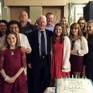 Jim Bolger from Dunbur Upper, Wicklow town, enjoying his 80th birthday celebrations with a group of 100 family and friends in the Grand Hotel