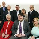 New Presbyterian minister Nathan Duddy with wife Ashley, Canon Martin Cosgrove, Mayor Sylvester Bourke, Emily Kearon, Rev William Montgomery, Rev Jim Carson, Rev David Bruce and Rev Dr Katherine Meyer