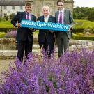 Minister Andrew Doyle, Noel Keyes, Chairman of Wicklow County Tourism, and Minister Simon Harris launching #WakeUpInWicklow at Killruddery on Monday