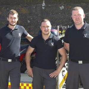 Jonathan McCormack, Sam Kelly and Kevin O'Neill at the Wicklow RNLI open day