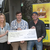 Brian McEvoy (centre, Pieta House) receives a cheque from Lorainne Dowling and Declan Clarke (Baltinglass Darkness into Light Committee). The presentation was in Horan's, Baltinglass. Photo Joe Byrne