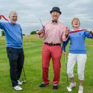 Captain Pat Crowe, owner and project manager Clive Evans and Lady Captain Mai Hanlon officially opening the new holes at Charlesland Golf Club last Friday evening