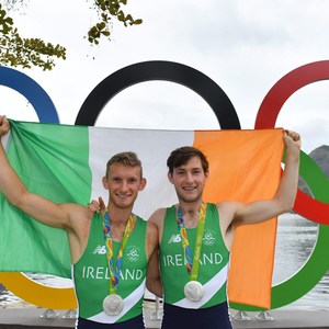 Brothers Gary O'Donovan, left, and Paul O'Donovan celebrate winning silver in the Men's Lightweight Double Sculls A final in Lagoa Stadium, Copacabana, during the 2016 Rio Summer Olympic Games in Rio de Janeiro, Brazil