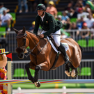 Mark Kyle, on Jemilla, in action during the Eventing Team Jumping Final at the Olympic Equestrian Centre, Deodoro, during the 2016 Rio Summer Olympic Games in Rio de Janeiro, Brazil