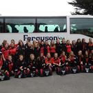 The girls get ready to board their bus bound for Dublin Airport