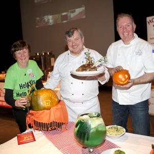 Homelink Cookery Demonstration at the Mermaid Arts Centre: Joyce Sheerin Homelink and chefs Rory Monaghan and Karl Clarke
