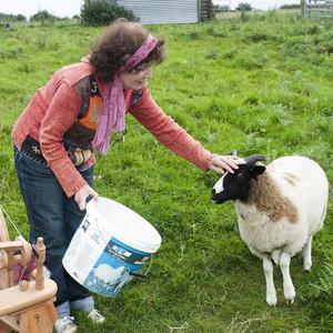 Roisin Flood with one of the small flock of Jacob's sheep that provide her with the fleeces she spins into yarn