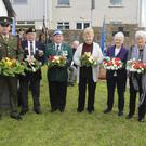David Flood, Jim Mulvey, Greg Leech, Cathy Flynn, Madge Cleary, Mary Jordan and Monica Browne at the wreath laying service at the FCA hall on the Murrough, Wicklow