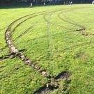 The damage caused to one of the Roundwood pitches