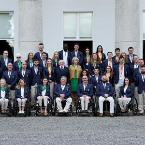 Wicklow Paralympians Gary Nolan (far left, third row) from Bray, Helen Kearney (front, third from left) from Dunlavin and Ciara Staunton (front, far right) and their Irish team mates with President Michael D Higgins and his wife Sabina at Áras an Uachtaráin