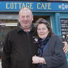 Larry Cole and Lorraine Aspill outside Daisy Cottage Cafe in Tinahely, which, although it opened just six months ago, has already been included in the McKenna Guide