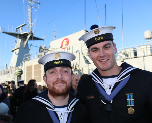 Sean Doyle and Myles Murray at Haulbowline in Cork after the LE Samuel Beckett returned to Ireland