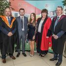 Former Avondale Community College student Tiernan Kavanagh, and Celina Dunne who attended Scoil Chonglais Baltinglass with, from left, IT Carlow Registrar David Denieffe; Dr Patricia Mulachy, President of IT Carlow, and Cormac O'Toole, Vice-President for Corporate Affairs, IT Carlow