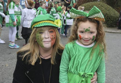 Samantha Murphy and Ava de Chaine at the Rathdrum St Patrick's Day parade last year