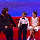 Joshua Bonici and his dance parter Kerry Sui chatting to Dawn French on 'Little Big Shots'