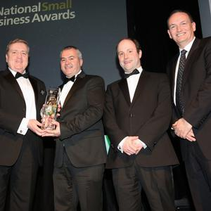 Darren Fortune and Mark Simms of Ventac (middle and second from right) accepting the manufacturing award from SFA chairperson Sue O'Neill, Minister Pat Breen and Alan Mulcahy of category sponsors Energia at the SFA National Business Awards