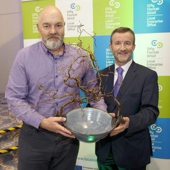 Gordon O'Neill, CEO of Goldfish Telecoms Ltd, accepts the County Enterprise Award from Bryan Doyle, Chief Executive of Wicklow County Council