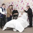 James Shannon, Michael O' Toole, Annee Moorhead, Ciaran O' Keeffe and Johnny Kelly in rehearsals in for A Wake in the West