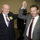 Martin McGuinness and John Brady at last year's election count in Greystones