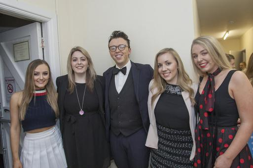 Roisin Phelan (assistant director), Karen Meehan (director), Cillian Brophy (assistant director), Orla Greaves (assistant musical director) and Saoirse O'Moore (choreographer) at the production of 'Grease' by students of Scoil Chonglais in Fatima Hall