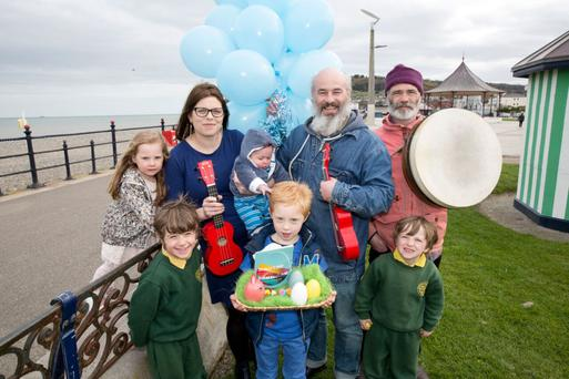 Arts Officer Jenny Sherwin with Ronan and Colm O Snodaigh of Kila and some young fans in Bray