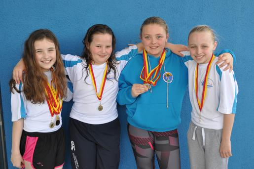Girls Relay gold medal winners Niamh Waters, Aine Vize, Sienna Brennan and Amy Noble