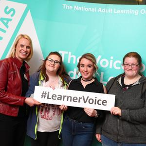 Youthreach Coordinator Louise Cole and learners Megan Keogh, Chelsea Kane and Niamh Buckley from Kildare and WicklowEducation and Training Board at the National FET Learner Forum.