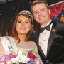 Jane with MC Brian Ormonde on the night she was crowned the 2016 Wicklow Rose
