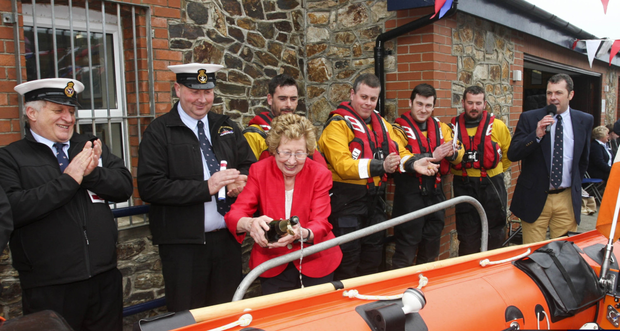 Phylis White officially naming the Dennis-Audrey D class lifeboat at Wicklow Lifeboat Station on Saturday afternoon.