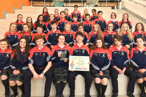 Coláiste Chill Mhantáin students, who performed their son 'Love grows with every piece' at the National Concert Hall for the Walton's Music for Schools All-Ireland competition.