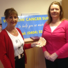 Catherine Murray presenting €900 to Ann Houston of Wicklow Cancer Support