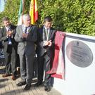 Hugh, Frances and Ruth Campbell, Carlos Lucini, Councillor of the Spanish embassy, Cllr Pat Fitzgerald and Cllr Pat Kennedy unveil a plaque to commemorate the 100th birthday of artist George Campbell