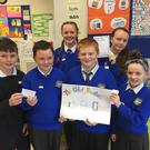 Fifth class pupils from St Coen's NS, Rathnew, with their 'Child Tracker' wristband project, created as part of their Bizworld workshop