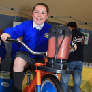 Ciara Plunkett trying out the smoothie bike