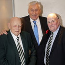 Eric Archer (left) with Des Douglas and rugby legend Willie John McBride at the Greystones Rugby Club dinner in March 2016