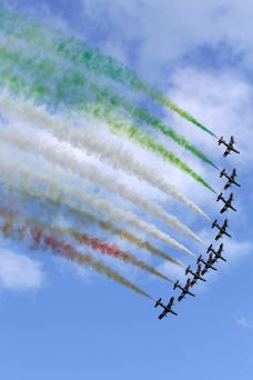 The Frecce Tricolori Italian display team in tight formation